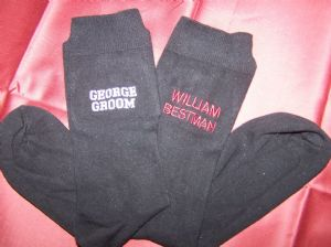 MENS PERSONALISED EMBROIDERED WEDDING/SHORT MESSAGE SOCKS